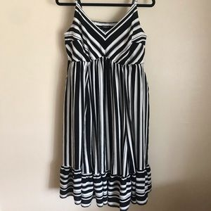 Torrid Black & White Striped Challis Dress, 00